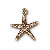 Starfish Charm, Antique Gold Plated Pewter