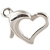 .925 Sterling Silver Heart Shaped Lobster Clasp, 9.5mm, Per Piece