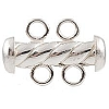 .925 Sterling Silver Twisted Tube Clasp w/2 Rings, 16mm, Per Piece