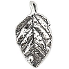 .925 Sterling Silver Leaf Pendant, Oxidized, 26mm