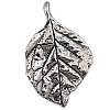 .925 Sterling Silver Leaf Pendant, Oxidized, 27.5mm