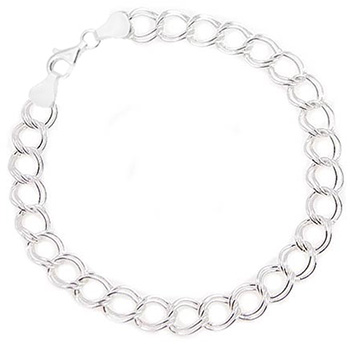 Choice of Thickness /& Length Sterling Silver Double Link Charm Bracelet