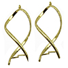 Gold Plated Base Metal Earring Twisted Patterned Frame - Pair