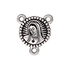 TierraCast 2 to 1 Link, Our Lady, Rosary, Antiqued Fine Silver Plated Pewter