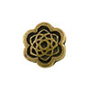 Floral Shaped Antique Brass Plated Pewter Bead, 10mm