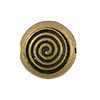 Spiral Pattern Antique Brass Plated Pewter Bead, 12mm