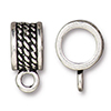 Large Bail 8mm Hole Rope Motif TierraCast, Antiqued Silver Plated Pewter