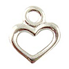 Rhodium Plated Pewter Heart Charm, 9mm, Per Piece