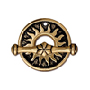 22KT Gold Plated Sun Decorated Toggle Clasp, 17mm, Antique Finish