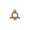 Antiqued Gold Plated Pewter Twisted Toggle Clasp 10mm