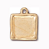 Simple Flower Frame Charm, Antique 22KT Gold Plated Pewter TierraCast