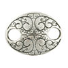 Scroll Oval Hammer Tone Pewter Link, Silver Plated, Antique Finish, 17mm x 13mm
