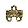 Flower Pattern 2-1 Pewter Link, Brass Plated, Antique Finish