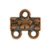 Flower Pattern 2-1 Pewter Link, Copper Plated, Antique Finish