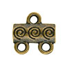 Spiral Pattern 2-1 Pewter Link, Brass Plated, Antique Finish