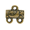 Star & Moon Pattern 2-1 Pewter Link, Brass Plated, Antique Finish