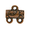Star & Moon Pattern 2-1 Pewter Link, Copper Plated, Antique Finish