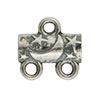 Star & Moon Pattern 2-1 Pewter Link, Silver Plated, Antique Finish