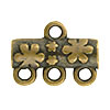 Flower Pattern 3-1 Pewter Link, Brass Plated, Antique Finish