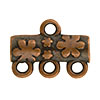 Flower Pattern 3-1 Pewter Link, Copper Plated, Antique Finish