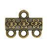 Jasmine Pattern 3-1 Pewter Link, Brass Plated, Antique Finish