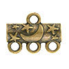 Star & Moon Pattern 3-1 Pewter Link, Brass Plated, Antique Finish