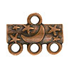 Star & Moon Pattern 3-1 Pewter Link, Copper Plated, Antique Finish