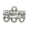 Star & Moon Pattern 3-1 Pewter Link, Silver Plated, Antique Finish