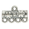Floral Pattern 4-1 Pewter Link, Silver Plated, Antique Finish