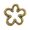 Open Flower Shaped Brass Plated Pewter Link, 15mm