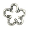 Open Flower Shaped Silver Plated Pewter Link, 15mm
