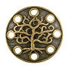 Tree Motif Round Pewter Link, Brass Plated, Antique Finish, 16mm