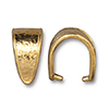 Pinch Bail Hammertone, 15mm 22kt Bright Gold Plated Pewter
