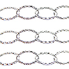 Sterling Silver 10X16mm Textured, Flat Oval Chain, Per Foot