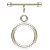 Sterling Silver Round Toggle Clasp w/Rings, 16mm