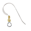 Sterling Silver Earwires w/2mm 14/20 Gold Fill Bead and Coil