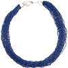 SeedBead Necklace 30 Luxury Strands, 18 Inches Denim Blue with Silver Tone Clasp and 2 Inch Extender