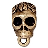 Skull Bail, 16.5mm Antique 22kt Gold Plated Pewter
