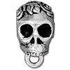 Skull Bail, 16.5mm Antique Fine Silver Plated Pewter