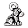 Dog Charm, Antique Fine Silver Plated Pewter