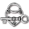 Lock & Key Clasp, Antiqued Fine Silver Plated Pewter