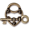 Lock & Key Clasp, Brass Oxide Plated Pewter