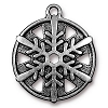 Snowflake Pendant 1 Inch Antiqued Silver Plated Pewter