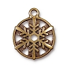 Snowflake Pendant .75 Inch Antiqued Gold Plated Pewter