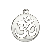 Laser Cut .925 Sterling Silver Charm, Om Cutout, 17mm Diameter, Anti Tarnish Finish