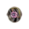 Black Painted Fiorato Daisy Round 14mm, Murano Glass Bead