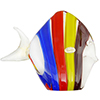 Red, Yellow and Blue Striped Fish with 24kt Gold Foil Accents Murano Glass