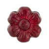 Murano Glass Bead Flower 24mm Gold Foil Red