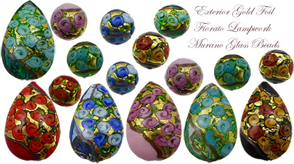 Fiorato Roses Murano Glass Beads