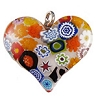 Fused Murano Glass Curved Heart 30mm Multi Colored Millefiori